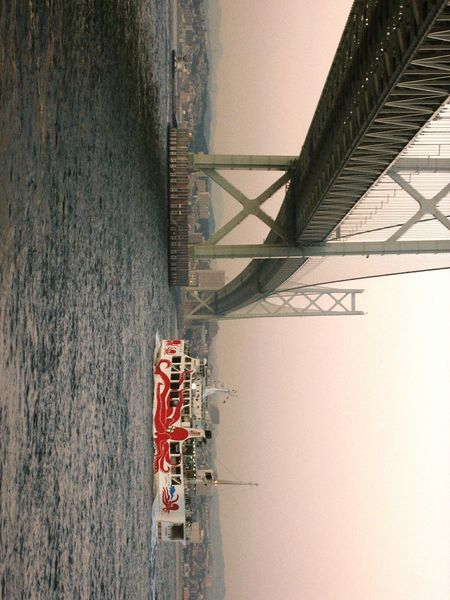 【Hyogo,Japan】taco ferry 明石大橋 廃止したタコフェリー タコフェリー Japan Hyogo Octopus Taco Ferry It Abolished Theferry Akashi Kaikyo Bridge Bridge Old Photograph Bridge - Man Made Structure Occupation Architecture Built Structure Building Exterior