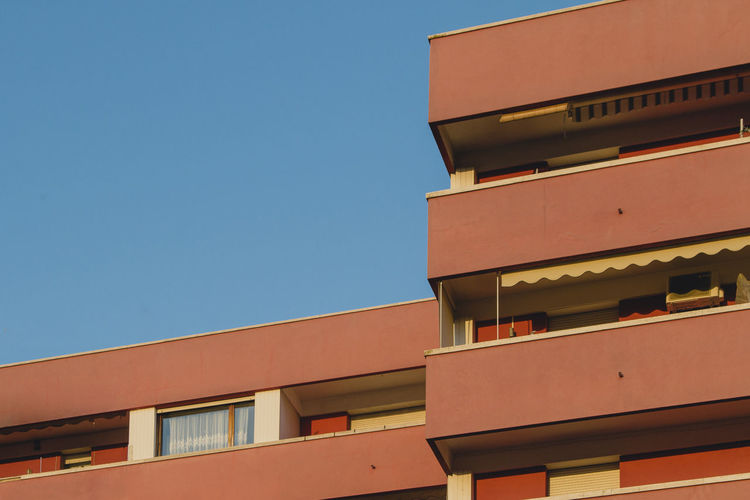 Lines Architecture Blue Bluesky Building Exterior Built Structure City Clear Sky Colorful Day Italy Low Angle View Minimal No People Outdoors Pastel Window