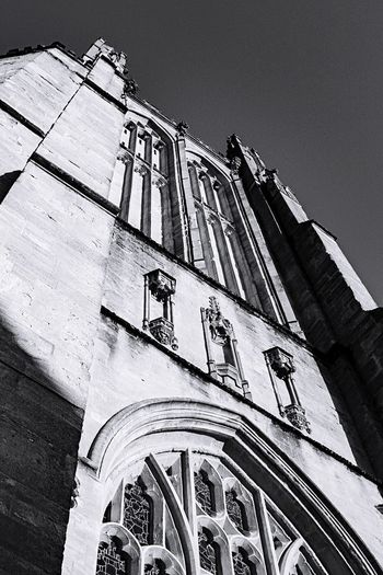 Look up Black And White Bnw_life Bnw_captures Bnw Church Low Angle View Architecture Building Exterior Built Structure Outdoors No People Day Sky
