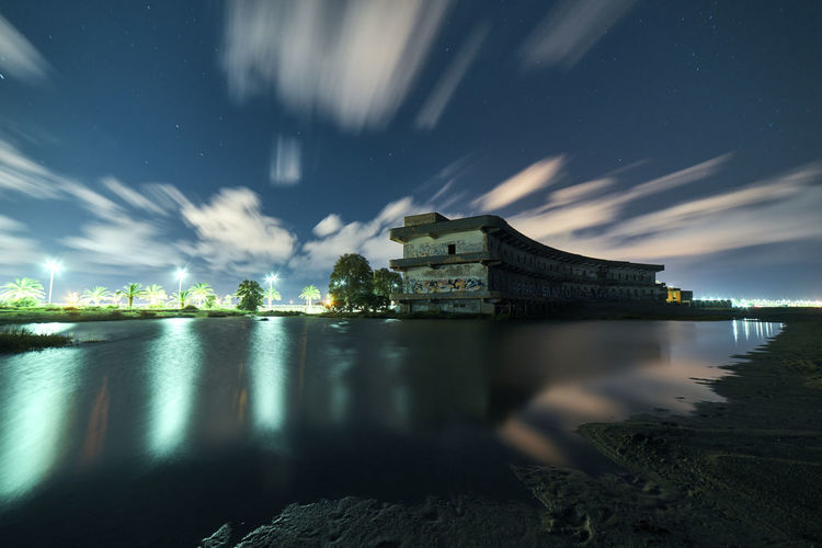 Vecchio ospedale marino presso la spiaggia del poetto a Cagliari Water Architecture Sky Night Built Structure Reflection Building Exterior Long Exposure Cloud - Sky Nature Star - Space No People Illuminated Travel Destinations Scenics - Nature Outdoors City Waterfront Astronomy Abandoned Abandoned Buildings Sea Mediterranean Sea Sardegna Autumn Mood Capture Tomorrow My Best Photo