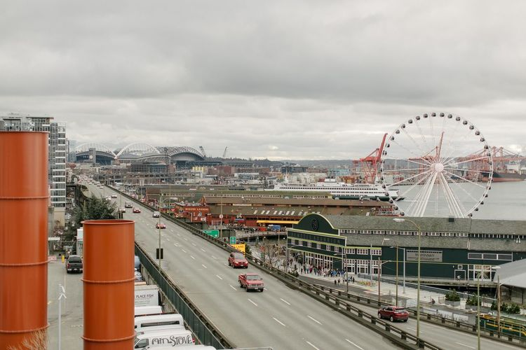 Seattle Seattle Skyline Ann Ilagan Photography Architecture Bridge - Man Made Structure Building Exterior Built Structure City Cityscape Cloud - Sky Day Ferris Wheel No People Outdoors Sky Transportation Travel Destinations