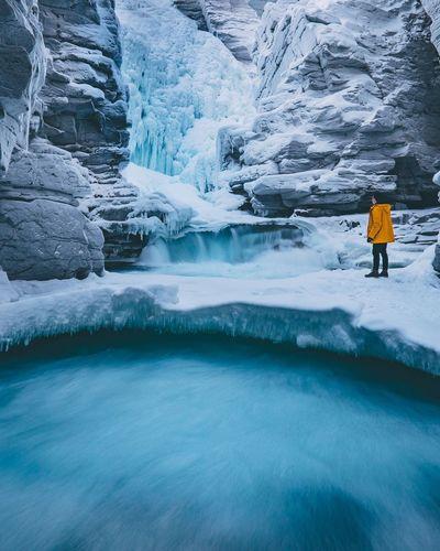 Scenic view of frozen waterfall