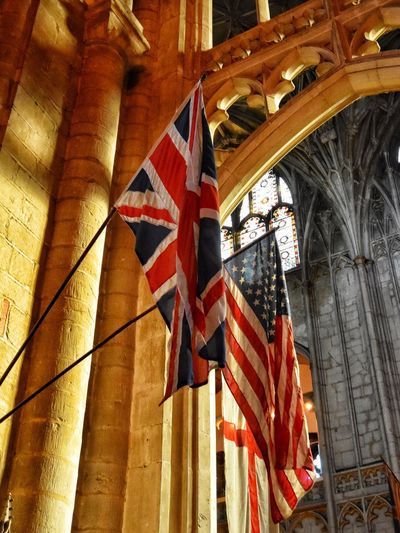Flags of our fathers Union Jack Stars And Stripes Patriotism No People Architecture Low Angle View Built Structure Day Architectural Column