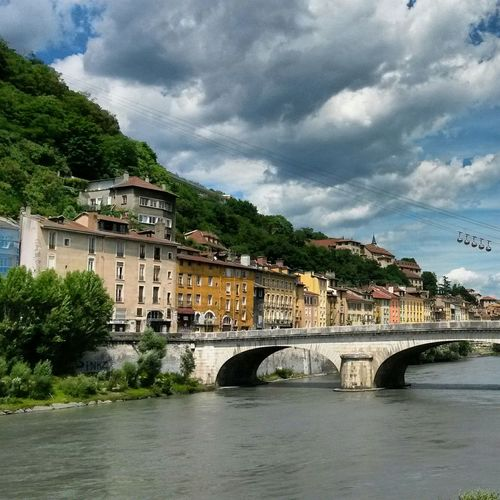 Summer Taking Photos Getting Inspired Sky And Clouds Bridge River Water Grenoble