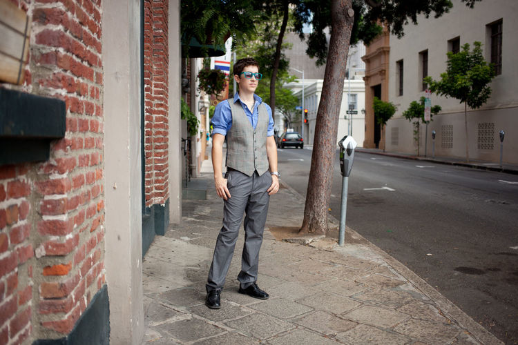 Full length of man standing in city