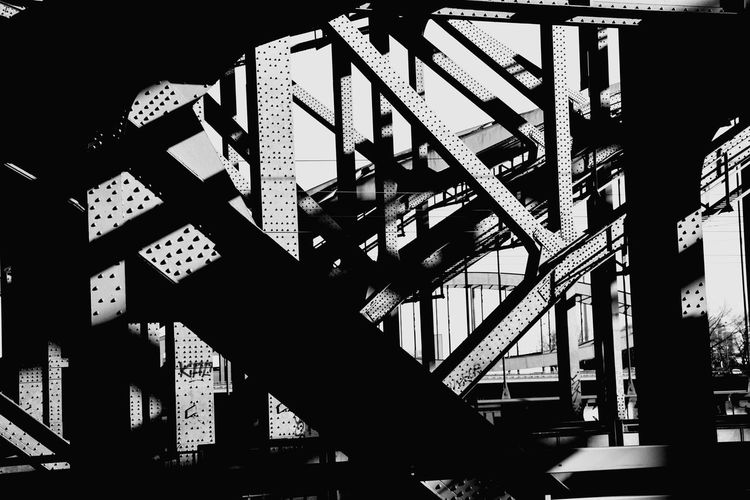Crisscross Steel Beams Of Bridge