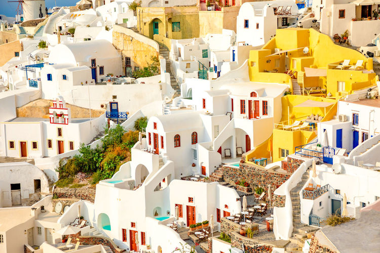 Greece Santorini Oia Thira Building Exterior Architecture Built Structure Building City Residential District Day No People House Town Nature Sunlight High Angle View Outdoors Community Travel Destinations Travel Tourism TOWNSCAPE