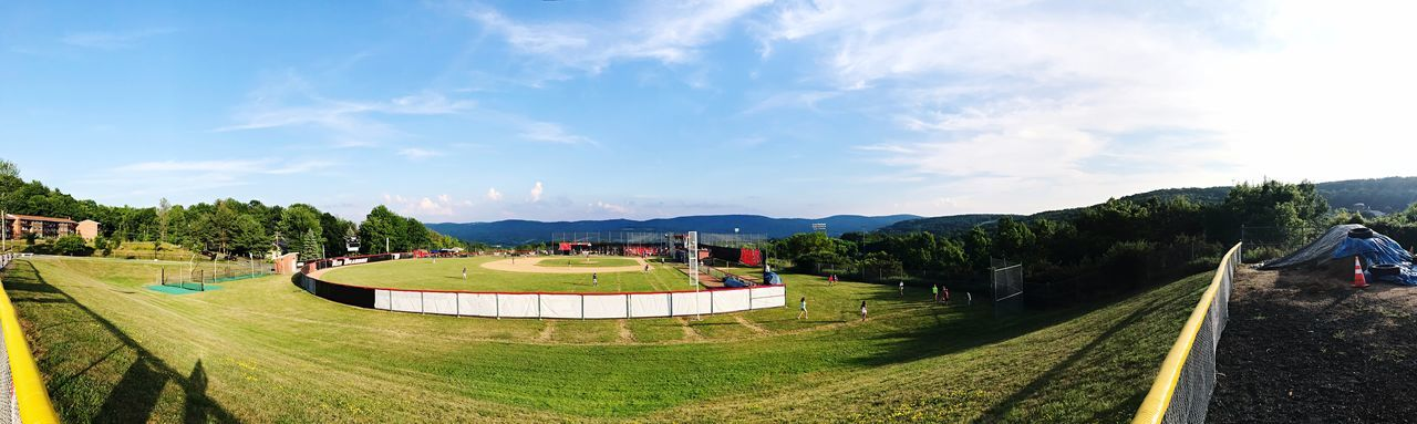 Copperstown Baseball World Oneonta Upstate New York Upstate Baseball Field Baseball Sky Plant Cloud - Sky Nature Tree Park Day Grass Built Structure Park - Man Made Space Mountain Outdoors Beauty In Nature Environment Sunlight Crowd