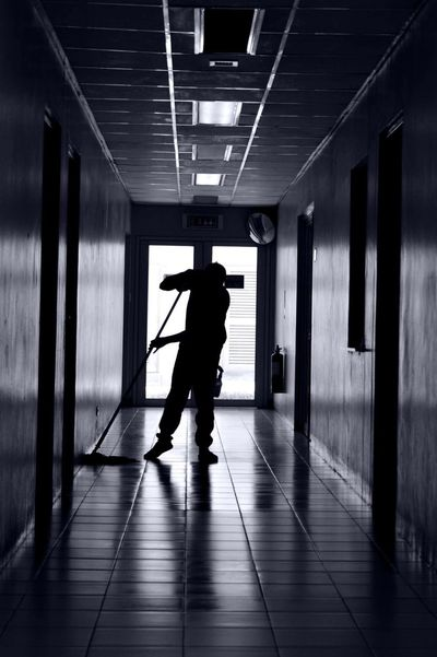 Silhouette Indoors  Cleaning One Person Full Length One Man Only People Adult Only Men Day Adults Only Alone Lonely Overtime Janitor Hallway Corridor EyeEmNewHere