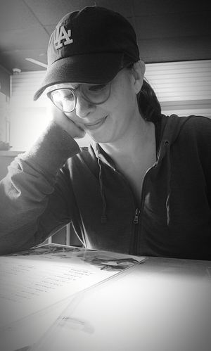 Adult One Person Indoors  MyGIRL Sitting Restaurants Black & White Soft Focus Daysoffwork Huntington Beach CA Taifood Happy Godrules Indoors  Arts Culture And Entertainment Tranquil Scene Scenics