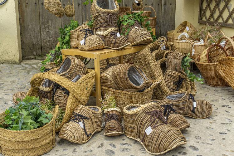 Wicker basket for sale in market
