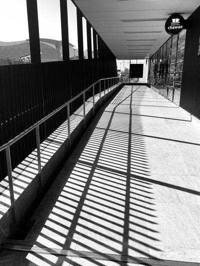 Shadow of railings on tiled floor