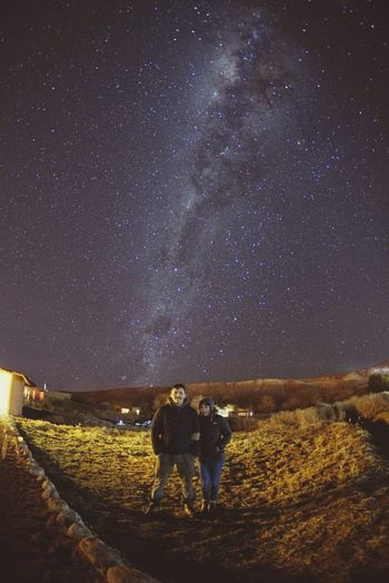 Fisheye milkyway Star - Space Two People Constellation Night Togetherness Nature_collection Landscape_collection EyeEmNatureLover Astronomy People Milky Way Space Full Length Galaxy Sky Men Bonding Young Adult Outdoors Illuminated