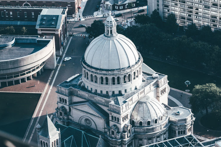 High angle view of cathedral in city