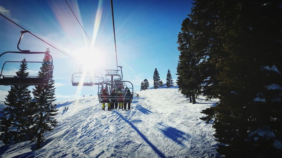 Skiing is Dope! Tree Sunlight Cold Temperature Sky Winter Outdoors Low Angle View No People Snow Nature Sun Beauty In Nature Day Architecture First Eyeem Photo