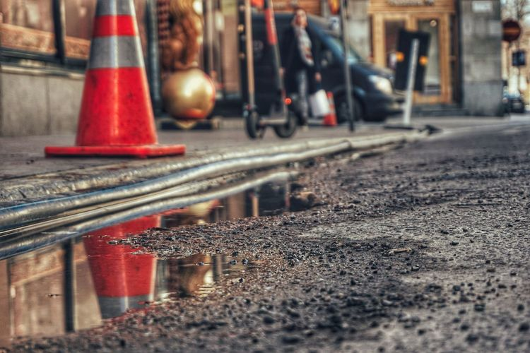Puddle Water Reflection 2019 Niklas Storm April Traffic Cone Red Road Construction Urban Scene Vehicle Building Road Warning Sign My Best Photo