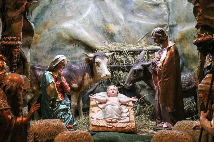 Ježíšek (Baby Jesus) figures - Bethlehem Bethlehem Christianity Christmas Figure Jesus Baby Jesus Birth Cow Day Domestic Animals Grass Holy Indoors  Mammal Nature Religion Representation Sitting Togetherness
