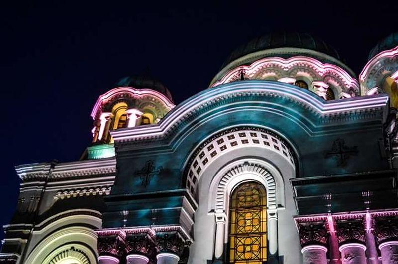 Kaunas Soboras Colours Lights City Architecture Church