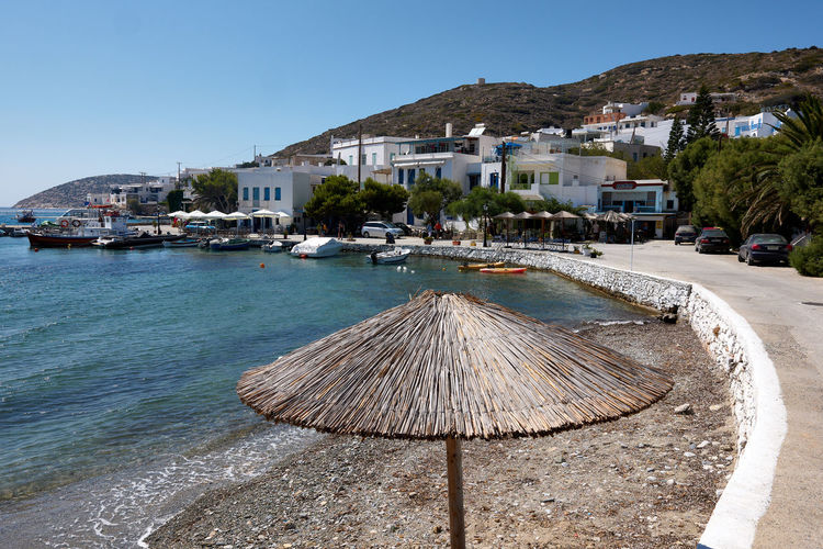 Amorgos Katapola Amorgos Architecture Building Building Exterior Built Structure City Clear Sky Day Greece House Land Mountain Nature Nautical Vessel No People Outdoors Residential District Sea Sky Transportation Umbrella Water