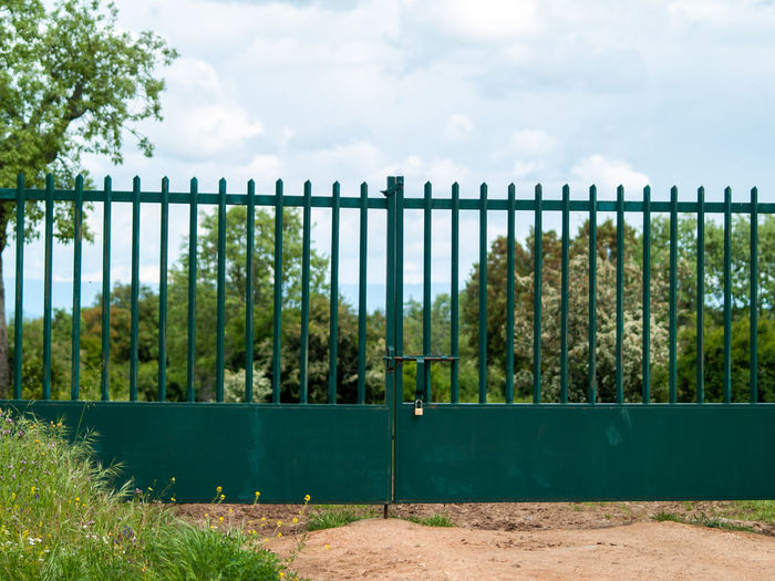 Closed Green Gate At Forest Against Sky