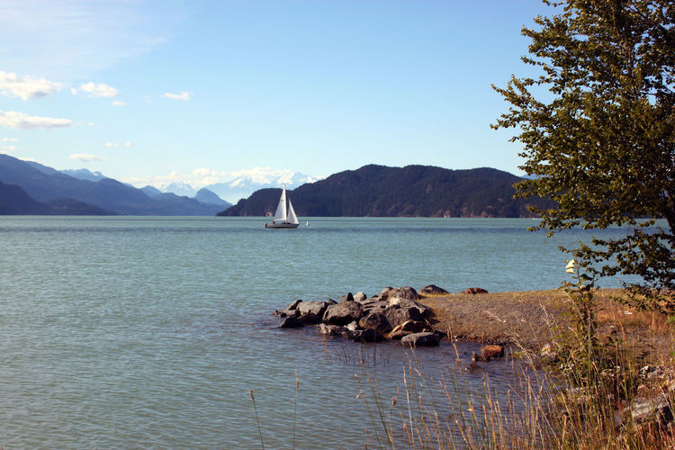 Beauty In Nature Day Lake Lake View Mountain Nature Nature On Your Doorstep Nautical Vessel No People Outdoors Tranquility Water