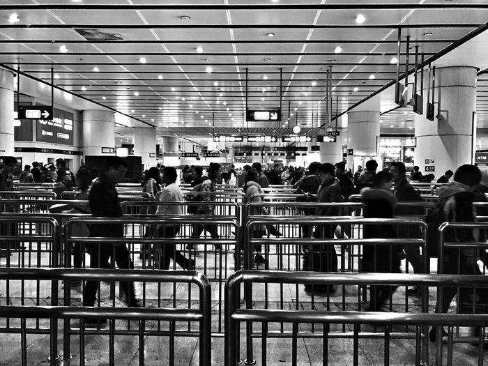 Metro Zombies BEIJING北京CHINA中国BEAUTY Black And White Monochrome Railway Station Scene IPhone Photography
