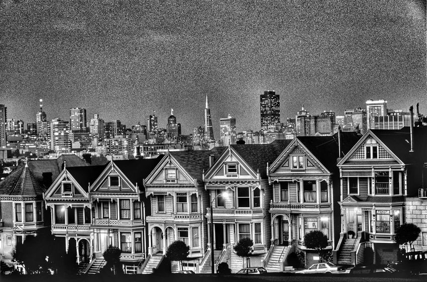 Painted Ladies, San Francisco, California, America Monochrome Black And White Collection  EyeEm Best Shots Black And White Photography Painted Ladies Painted Lady SAN FRAN San Francisco, California Sanfrancisco California Houses House America Blackandwhite Black & White Black And White Editorial  Tourists City At Night Landscape Taking Pictures Tourist Destination Tourist Attraction  Travel Destinations Travel Photography