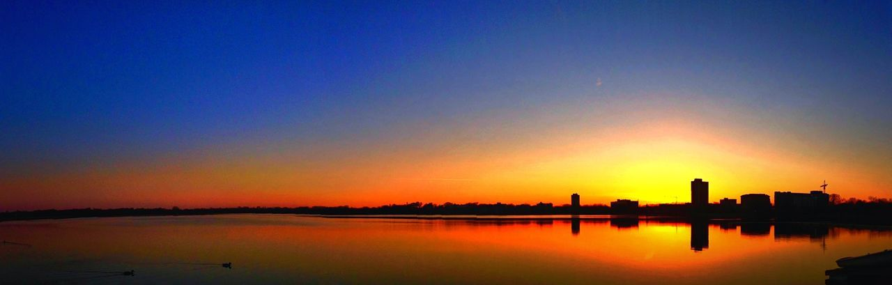 Scenic View Of Lake Calhoun Against Clear Sky During Sunset