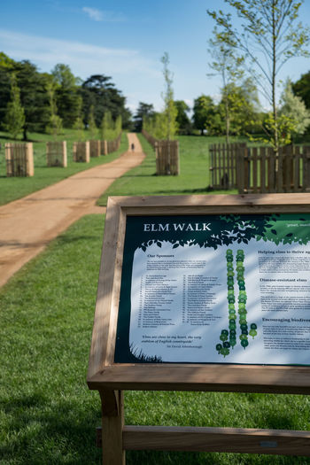 Views of Elm Walk near Petersham Gate in Richmond Park, London. The disease-resistant elms were available to sponsor, with the first one sponsored by David Attenborough, who is a local resident. ELMS Bench Close-up Communication Day Elmstead Market Field Focus On Foreground Grass Green Color Land Lawn Nature No People Outdoors Park Park - Man Made Space Plant Sky Sunlight Text Tree