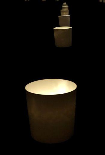 Lit Up Rows Of Things Luminarie Illuminated Lighting Equipment Black Background Close-up