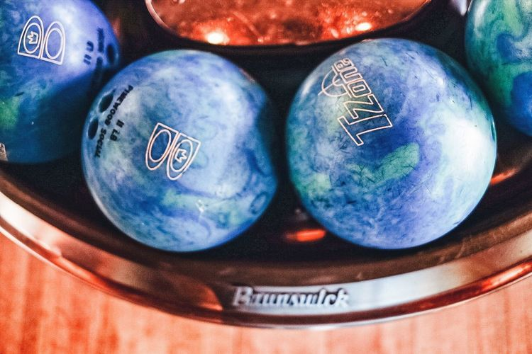 Balls Blue Bowling Bowling Alley Cosmic Full Frame Sphere Trendy Wood