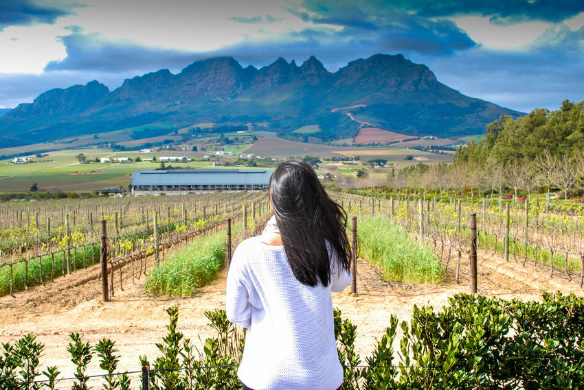 Beauty In Nature Cloud - Sky Environment Field Hair Hairstyle Land Landscape Leisure Activity Lifestyles Long Hair Looking At View Mountain Mountain Range Nature No Face One Person Outdoors Plant Real People Rear View Scenics - Nature Sky Tranquil Scene Tranquility