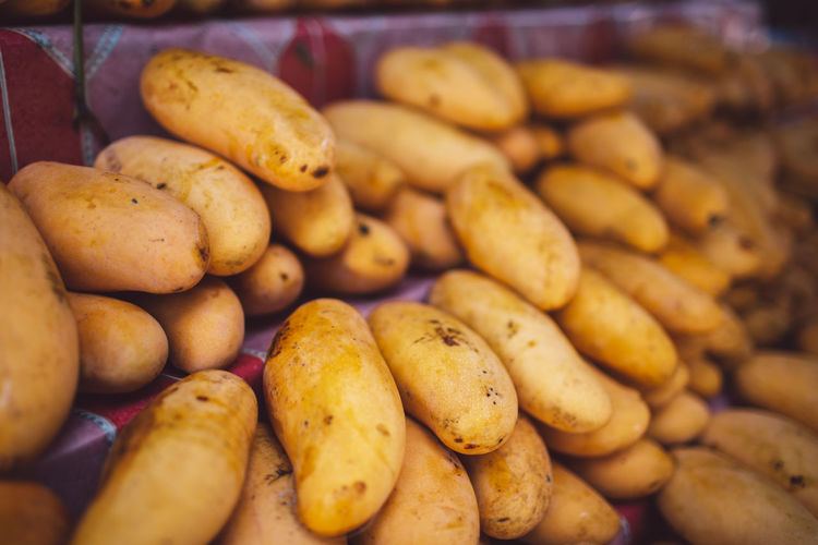 Ko Samui Thailand Island Mango Food And Drink Food Freshness Potato Abundance Healthy Eating Large Group Of Objects Vegetable Wellbeing Indoors  No People Close-up Still Life Selective Focus For Sale Raw Potato Choice Retail  Market Root Vegetable