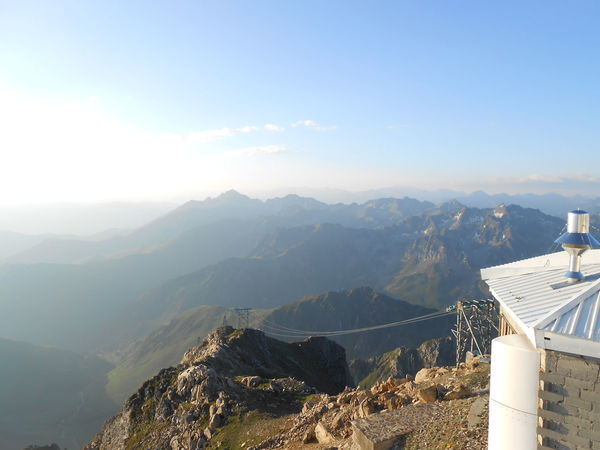 pic du midi observatory Pyrenees Observatory Weather Station Cable Car Top Of The Mountains Haze Mountain Sky Architecture Landscape Building Exterior Built Structure Aerial View Roof Mountain Range Rooftop Snowcapped Mountain Roof Tile