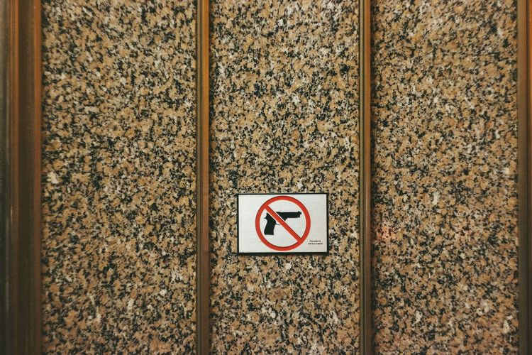 NoGun Nogunsallowed Strictlyforbidden Chicago No People Outdoors Brown Stone Material