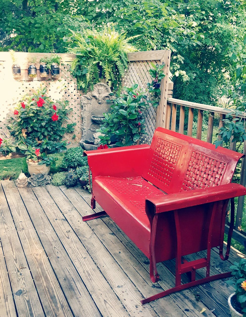 chair, plant, wood - material, red, front or back yard, table, outdoors, flower, day, growth, no people, tree, seat, nature