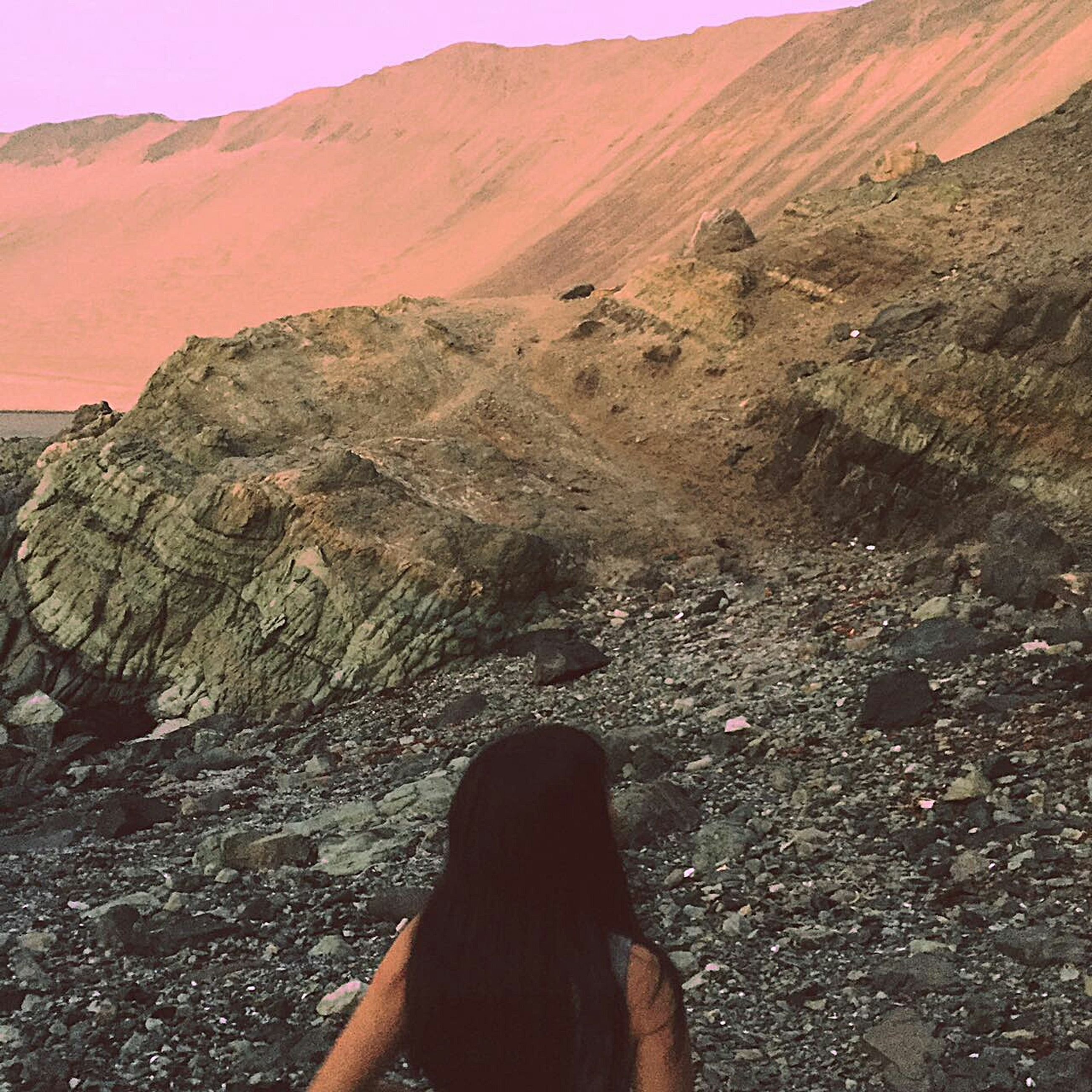 sand, nature, outdoors, sand dune, day, beauty in nature, one person, sky, people