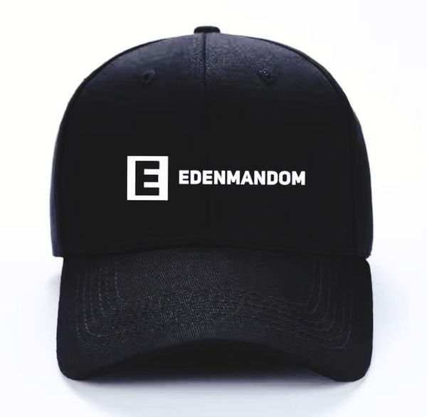 My Brand, My Name, My Own. Edenmandom Baseball Cap Headwear White Background Black Color