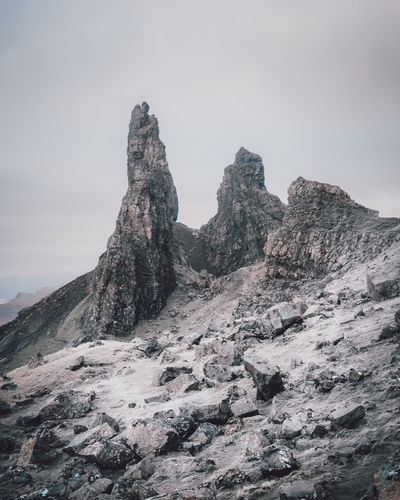 Snowy Storr Sky Rock Beauty In Nature Rock Formation Rock - Object Scenics - Nature Tranquility Mountain Solid Tranquil Scene Nature Non-urban Scene No People Geology Physical Geography Mountain Range Remote Idyllic Formation Outdoors Mountain Peak Eroded Arid Climate High Old Man Of Storr