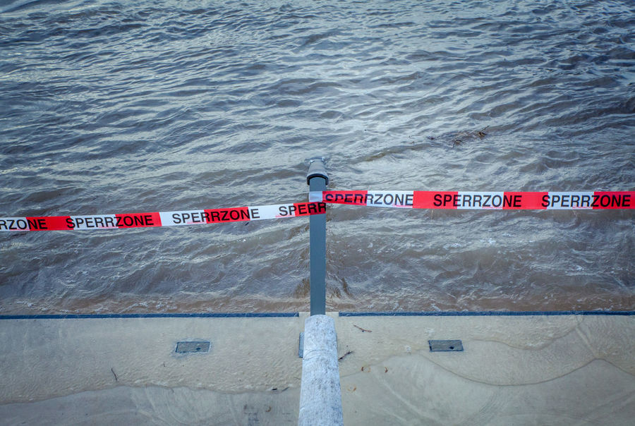 Cologne , Köln,  Flooded High Water Sperrzone Blocked Path Communication Day Fence Flood Nature No People Outdoors Safety Sea Text Water
