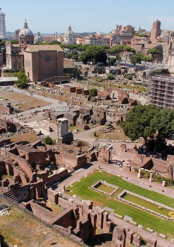 The ruins of ancient Rome as seen from the Palatine Hill Ancient Ancient Civilization Ancient Ruins Architecture Building Exterior Built Structure Day Historic City Historical Building Historical Sights History No People Old Ruin Outdoors Palatine Preservation Roman Rome Italy Sky The Past Travel Travel Destinations Travel Photography Tree