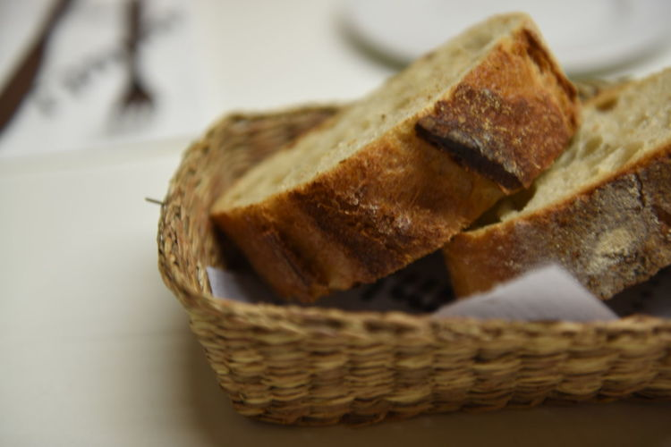 Close-up of bread in wicker