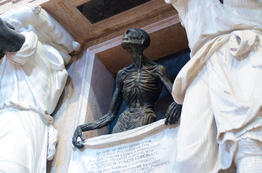 A Church Church Of The Brothers Day Death Europe Human Representation Italy No People Outdoors Renaisa Santa Maria Gloriosa Dei Frari Sculpture Skeleton Spirituality Statue Venice Venice, Italy