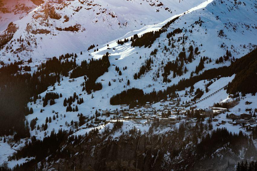 Alpine Village Mürren, Switzerland Aerial View Cold Temperature Mountain Mountain Range Mürren Scenics Snow Snowcapped Mountain Swiss Alps Village Winter