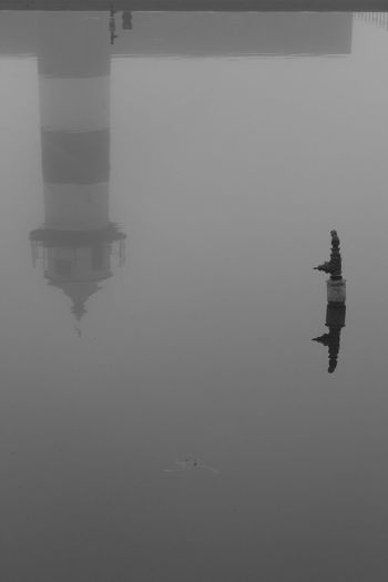 Foggy Reflection Black & White Architecture Blackandwhite City Day Fog Outdoors Reflection Symmetry Water
