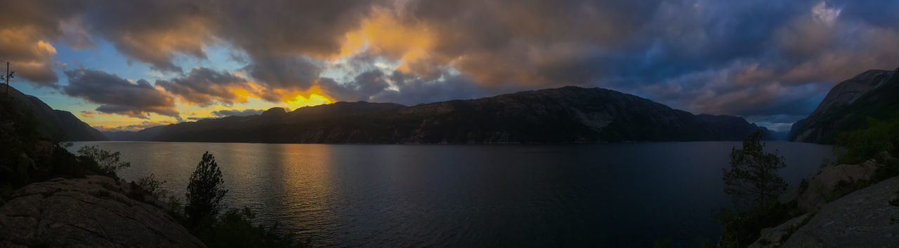 Beautiful view of the Lysefjord Beauty In Nature Cloud - Sky Day Fjord Lake Landscape Lysefjord Mountain Mountain Range Nature No People Outdoors Panoramic Reflection Scenics Sky Sunset Tranquil Scene Tranquility Water The Great Outdoors - 2017 EyeEm Awards Lost In The Landscape