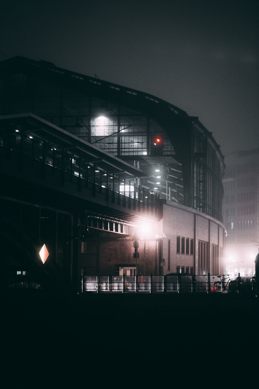 illuminated, night, architecture, built structure, building exterior, no people, street light, city, outdoors, sky