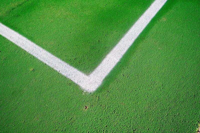 High Angle View Of Corner Marking On Basketball Court