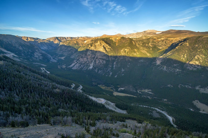 Aerial view of sunrise in the Beartooth Mountains near Red Lodge, Montana Aerial Aerial View Alpine Beartooth Beartooth Mountains Beartooth Pass Forest Landscape Montana Overlook Red Lodge Red Lodge, Montana Scenics Tourism Travel Travel Destinations USA Wilderness