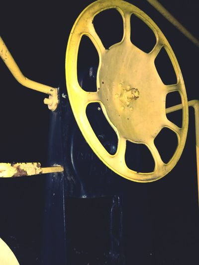 Close-up view of yellow wheel